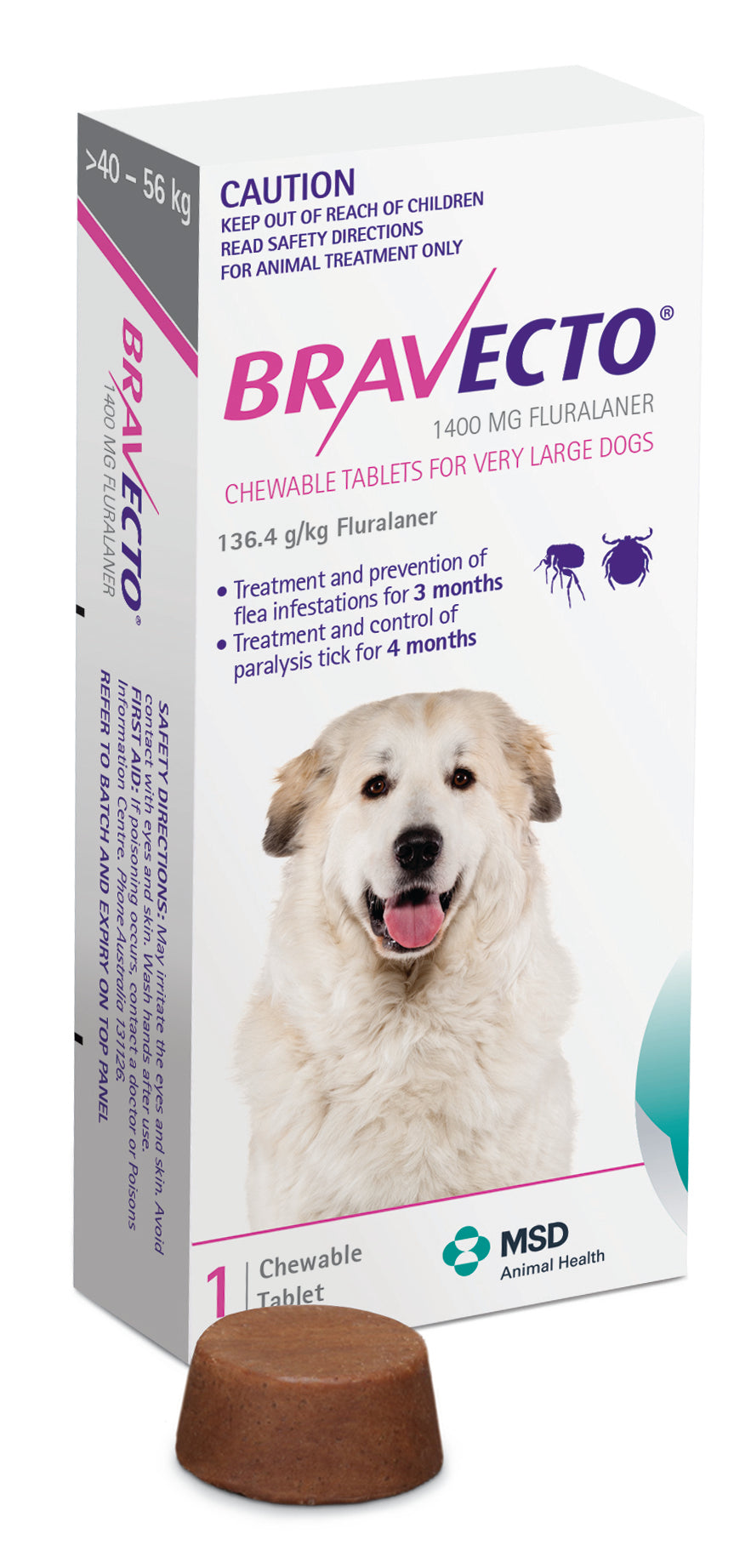 Bravecto Chewables Flea & Tick Control - Extra Large Dog (40kg to 56kg)