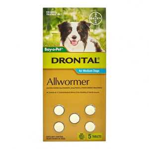 Drontal Allwormer Chewable for Dogs - 10kg (5 pack)