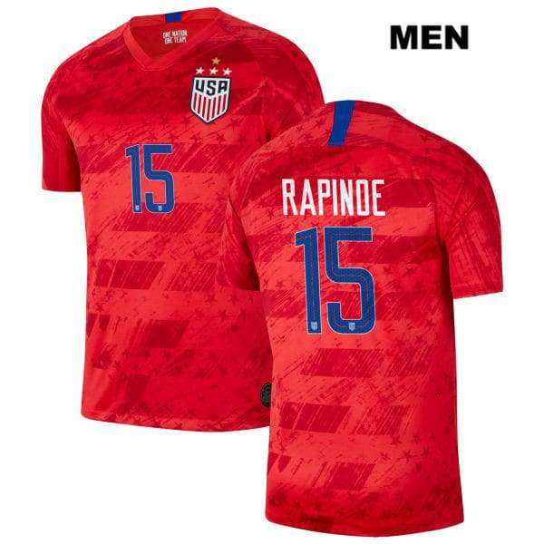 USWNT Away no. 15 2019 FIFA World Cup Champions Megan Rapinoe Men Red Soccer Jersey - S
