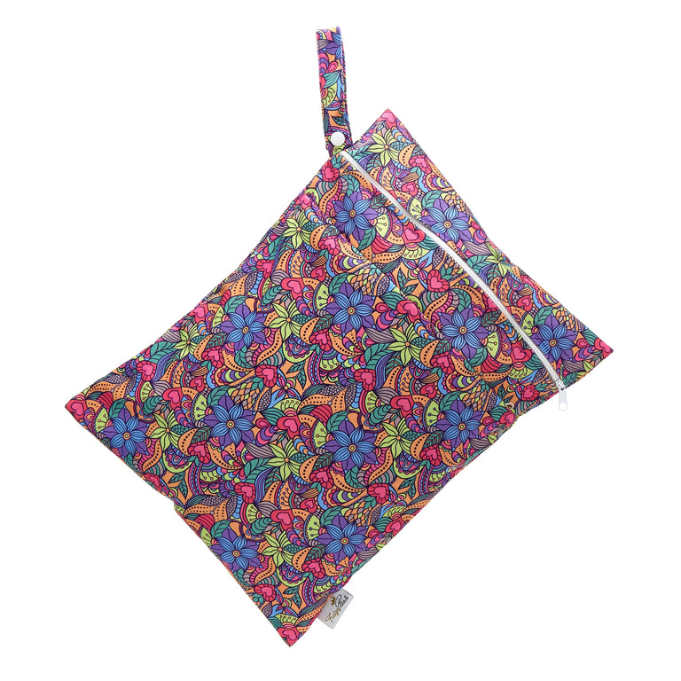 Double Pocket Wet Bag - Flower Power