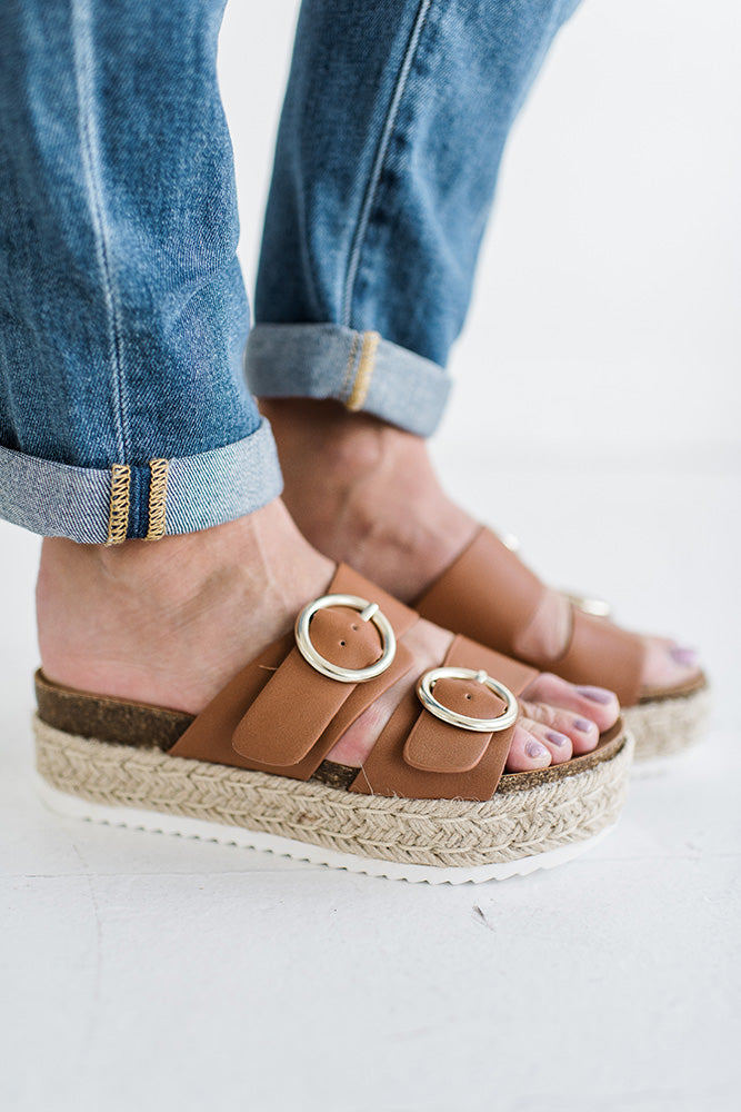Prim Double Strap Platform in Tan