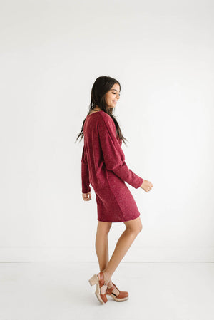 Jensen Sweater Dress in Wine