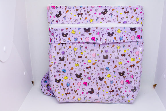 Quilted Convertible Purse - Purple Park Icons