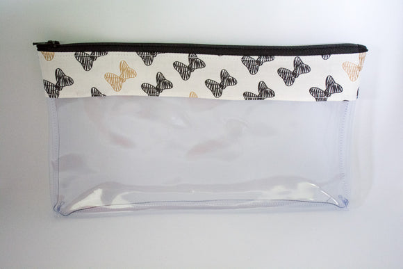 Makeup Bag- Black and Gold Bows