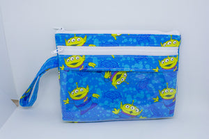 Touch Screen Wristlet - Bright Blue Aliens