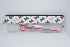 Reusable Straw Bag - Black and Gold Bows
