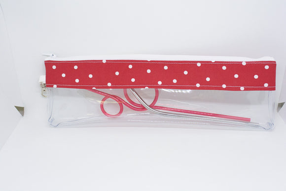 Reusable Straw Bag - Red Polka Dots