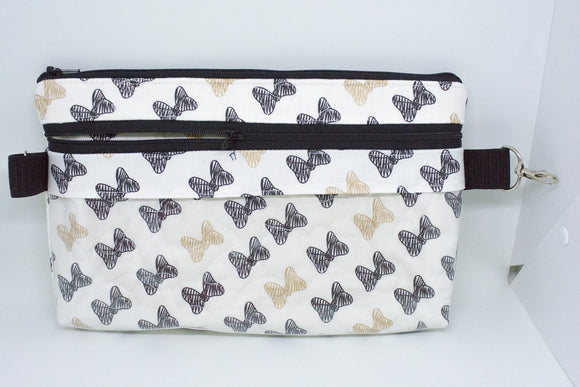 Large Belt Bag - Black and Gold Bows