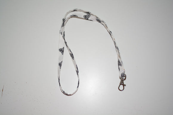 Thin Lanyard - Black and Gold Bows