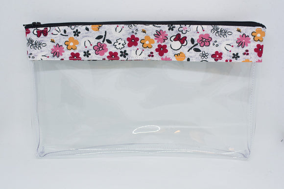 Makeup Bag - Grey Floral Minnie