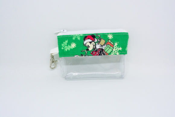 Coin Bag - Green Mickey Christmas
