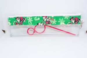 Reusable Straw Bag - Green Mickey Christmas
