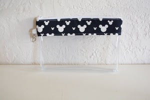 Face Mask Bag - White Mickey Silhouettes