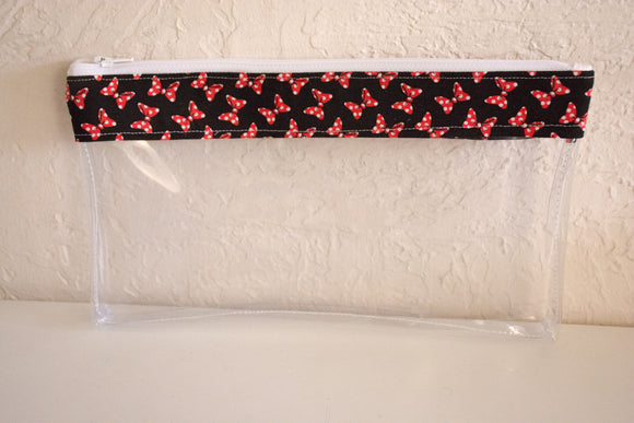 Make Up Bag - Black and Red Bows