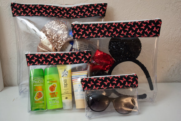 Travel Bag Set - Black and Red Bows