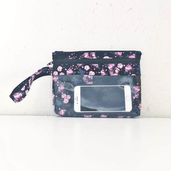 Touch Screen Wristlet- floral hidden Mickey