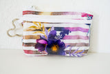 Keychain ID Wallet - Purple Floral Hidden Mickey