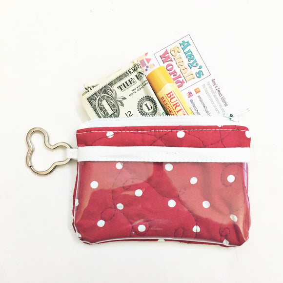Keychain ID Wallet - Red Polka Dots