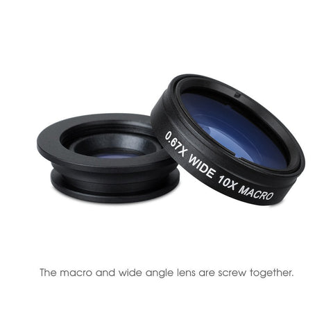 3-in-1 Photo Creative Clip-On Lens Kit for Smartphones (iPhone, Samsung, Sony...)
