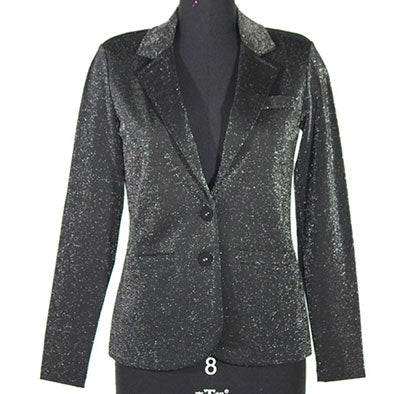 black lurex ponte casual pocket blazer femme