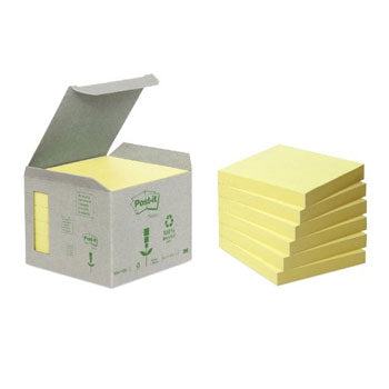 Post-it Note recyclée 76 x 76 mm Tour de 6 blocs Jaune pastel
