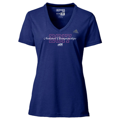 USTA LEAGUES 2017 National Championships Adidas Women's Blue Short Sleeve Performance Tee