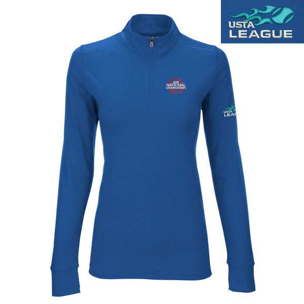 USTA Leagues 2018 National Championships Women's Royal Performance 1/4 Zip w front logo tennis ball art and left arm logo