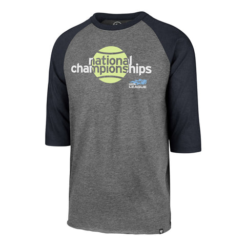 USTA Leauges 2018 National Championships Men's '47 Brands Grey/Navy Club Raglan Tee