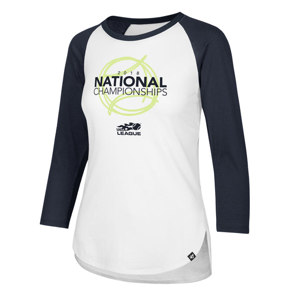 USTA Leagues 2018 National Championships Women's '47 Brands Sandstone/Navy Splitter Raglan Tee