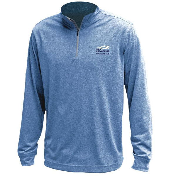 USTA LEAGUES 2016 National Championships Men's Blue Melange Vansport Quarter Zip Tech Pullover