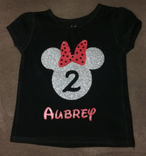 Load image into Gallery viewer, Minnie Mouse Birthday Girl outfit Toddler Black Shirt with Silver Glitter and Red Minnie Bow Disney Trip
