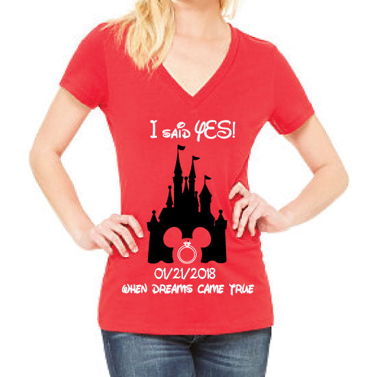I said Yes! He finally asked.. Ladies Engagement Castle Proposal Disney Shirt