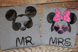Couples Mickey and Minnie Mr and Mrs Matching T-shirts