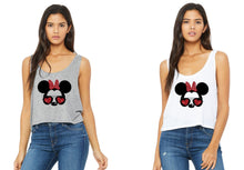 Load image into Gallery viewer, Minnie Mouse Heart Glasses | Get in loser we are going drinking around the world ladies Crop Tanktops