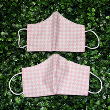 Load image into Gallery viewer, Pink Houndstooth Reusable Face Mask