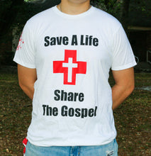 Load image into Gallery viewer, Save a Life, Share the Gospel White Unisex T-shirt