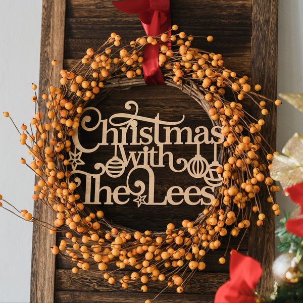 Yellow Berries - Personalised Wreath Christmas Decoration with Family Plaque