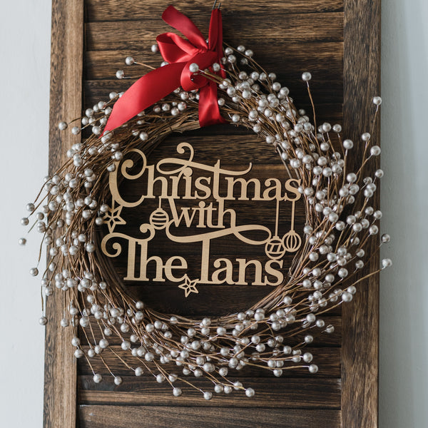 Silver Bush Berries - Personalised Wreath Christmas Decoration with Family Plaque