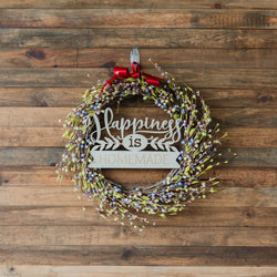 Mistletoe Loop with Family Plaque - Green and Pink