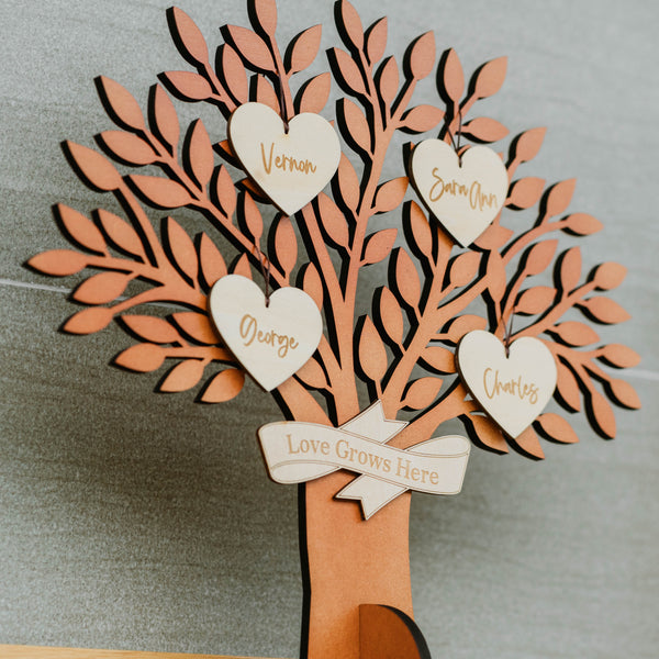 Love Grows Here Standing Family Tree