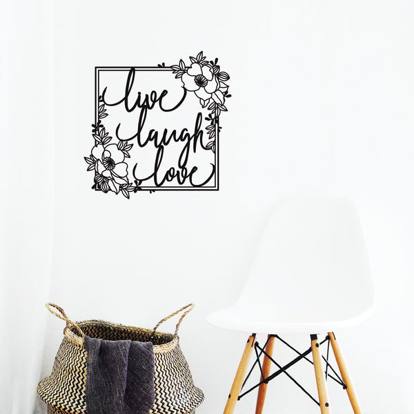 Live Laugh Love Floral Plaque