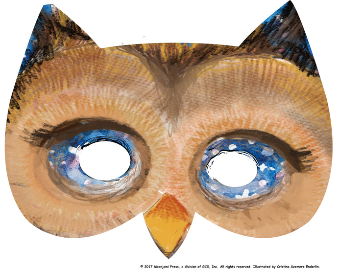 printable: Starry-eyed owl mask (full color)