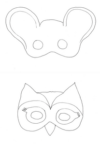 Printable: b/w animal masks to color
