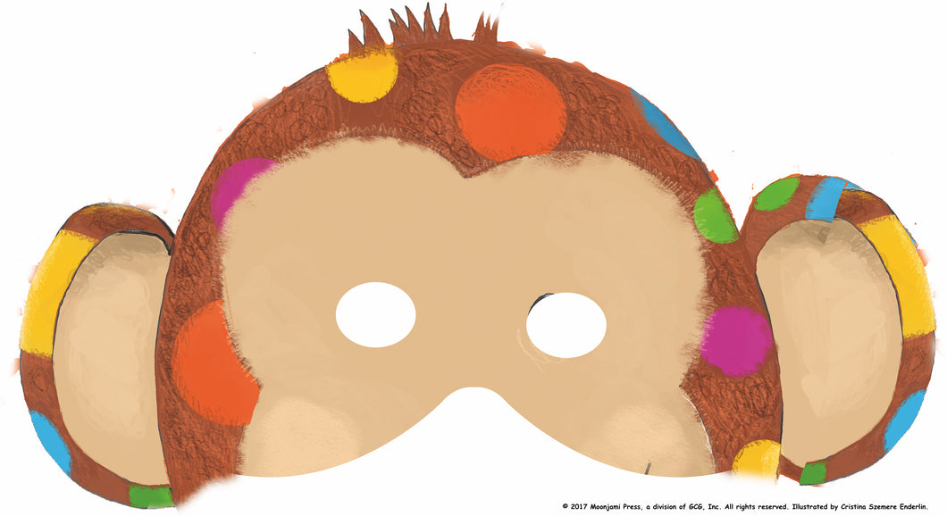 printable: Polka-dotted chimpanzee mask (full color)