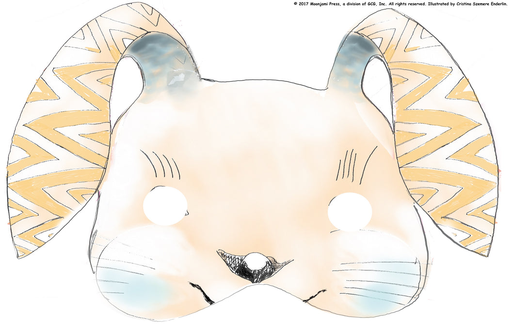 printable: Zig-zaggedy toothed rabbit mask (full color)