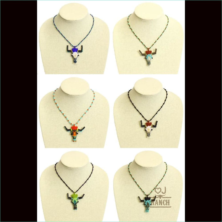 Beaded Longhorn Necklace - Necklace