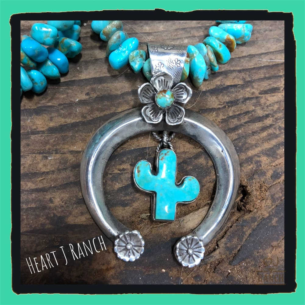 Beautiful Turquoise Necklace And Naja Cactus Pendant - Necklace