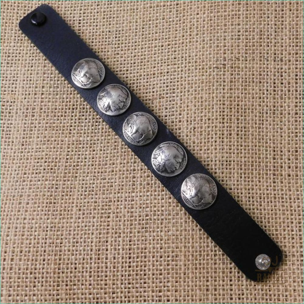 Black Leather Cuff with Buffalo Nickels - 21076