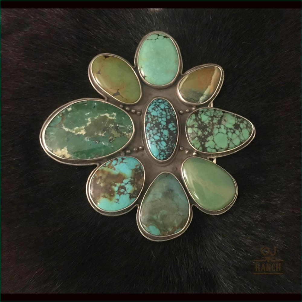 Cluster Turquoise Buckle - Belt Buckle