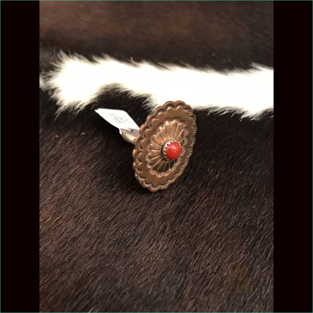 Copper Concho Ring With Red Stone - Ring